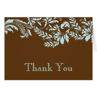 Modern Brown & Blue Leaf Flourish Thank You Note Card
