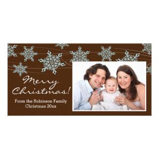 Modern Brown Blue Snowflake Christmas Photo Card