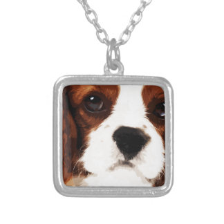 modern brown Cavalier King Charles Spaniel Silver Plated Necklace