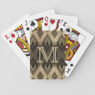 Modern Brown Diamond Pattern Poker Deck