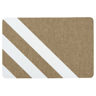 Modern Brown Faux Burlap White Stripes Floor Mat