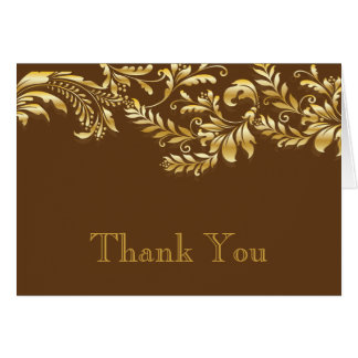 Modern Brown & Gold Leaf Flourish Thank You Note Card