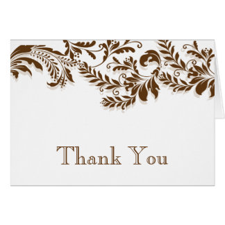 Modern Brown Leaf Flourish Thank You Note Card