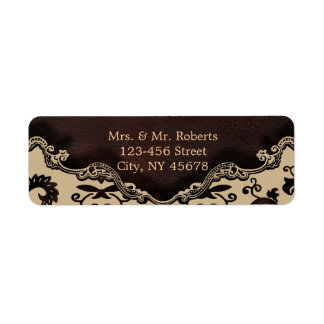 modern brown leather damask country wedding return address label