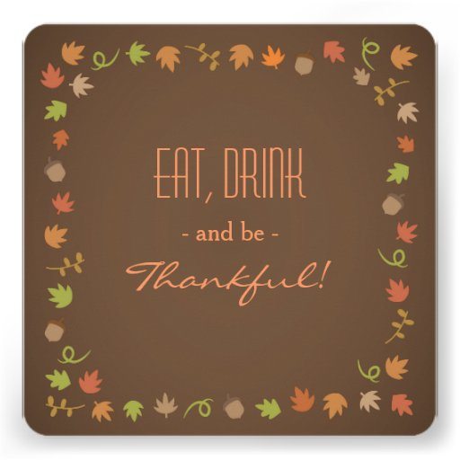 Modern Brown Thanksgiving Dinner Party Invitations