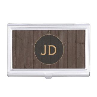 Modern Brown Timber Gold Monogram Business Card Holder