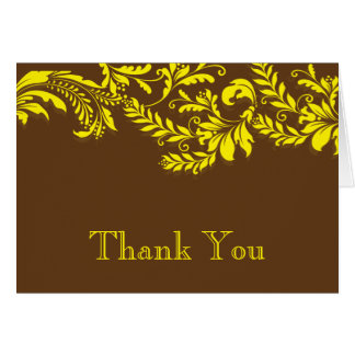 Modern Brown & Yellow Leaf Flourish Thank You Note Card
