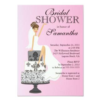 Modern Brunette  Bride Bridal Shower Invitation