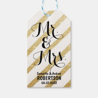 Modern brush gold stripe wedding Thank you Gift Tags