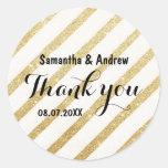 Modern brush gold stripe wedding Thank you Round Sticker