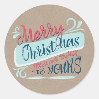 Modern Brush Merry Christmas Postage Stamp Classic Round Sticker