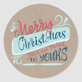 Modern Brush Merry Christmas Postage Stamp Round Sticker