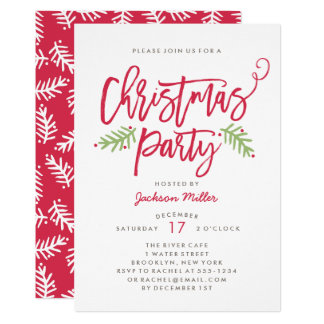 Modern Brush Script Christmas Holiday Party Card