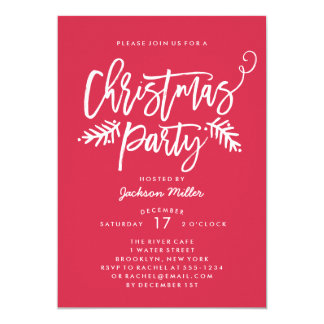 Modern Brush Script Christmas Holiday Party Red 13 Cm X 18 Cm Invitation Card