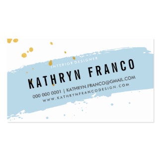 MODERN BRUSH STROKE cute baby blue gold splatter Pack Of Standard Business Cards