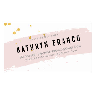 MODERN BRUSH STROKE cute pale pink gold splatter Pack Of Standard Business Cards