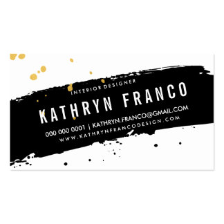MODERN BRUSH STROKE stylish black gold splatter Pack Of Standard Business Cards