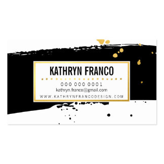 MODERN BRUSH STROKE stylish painted gold black Pack Of Standard Business Cards