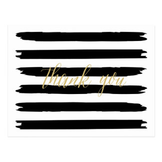 Modern Brush Strokes Thank You Postcard