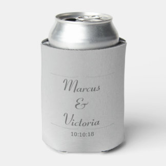 Modern Brushed Metal Wedding Can Cooler
