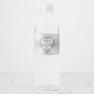 Modern Brushed Metal Wedding Water Bottle Label