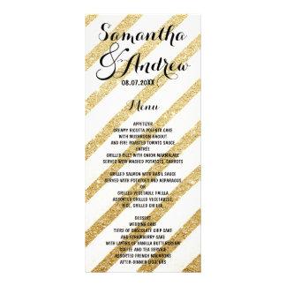Modern brushstrokes gold stripes wedding menu custom rack cards