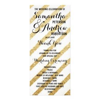 Modern brushstrokes gold stripes Wedding Program Personalized Rack Card