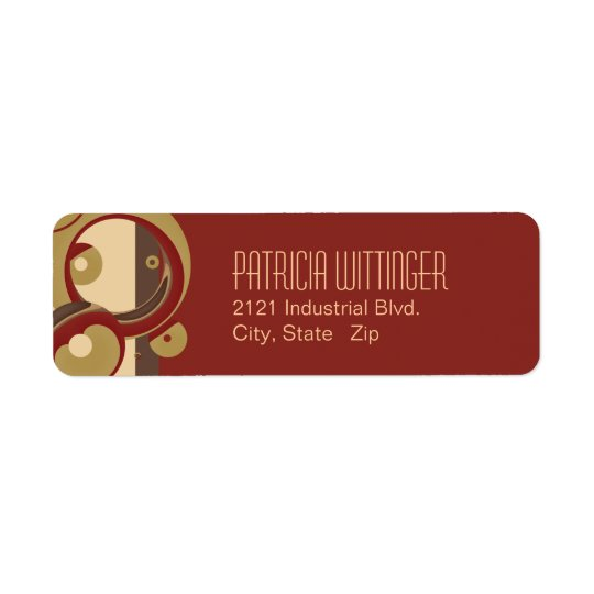 Modern Bubbles Return Address Labels - Burgundy