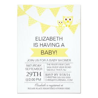 Modern Bunting Owl Gender Neutral Baby Shower 13 Cm X 18 Cm Invitation Card
