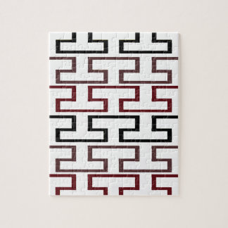 Modern Burgundy Black and Brown Bricks Jigsaw Puzzle