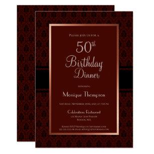 Modern Burgundy Copper 50th Birthday Dinner Party Invitation