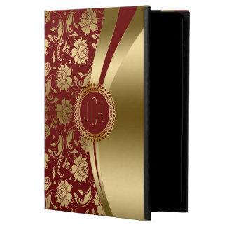 Modern Burgundy & Gold Metallic Floral Damasks Powis iPad Air 2 Case