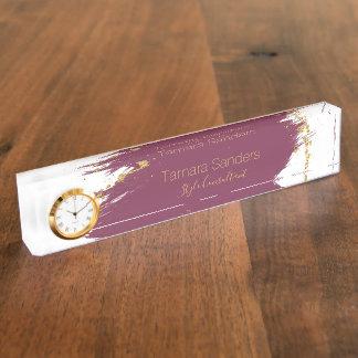 Modern Burgundy Gold Paint Strokes Desk Nameplate