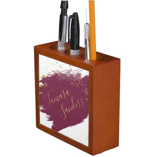 Modern Burgundy Gold Paint Strokes Desk Organiser