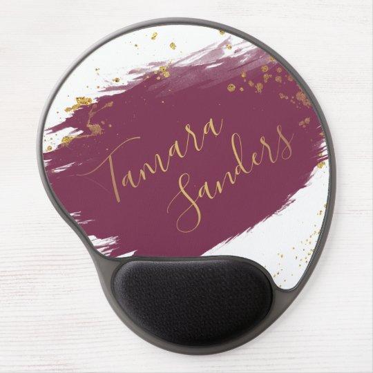 Modern Burgundy Gold Paint Strokes - Gel Mousepad