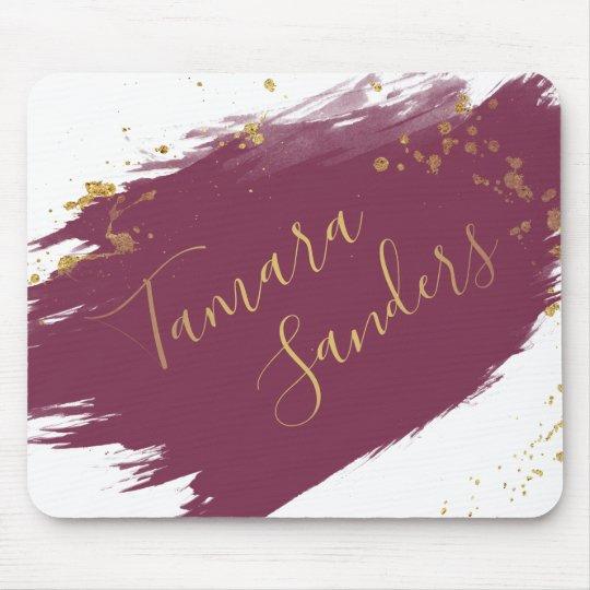Modern Burgundy Gold Paint Strokes - Mousepad