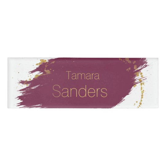 Modern Burgundy Gold Paint Strokes - Name Tag