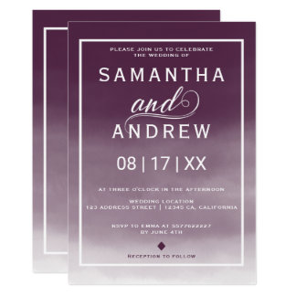 Modern burgundy watercolor typography wedding card