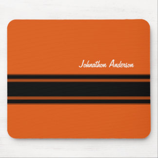 Modern Burnt Orange Racing Stripes With Name Mouse Pad