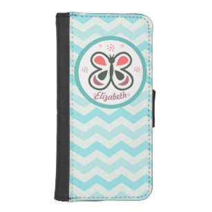 Modern Butterfly Personalised Chevron Kids Design iPhone SE/5/5s Wallet Case