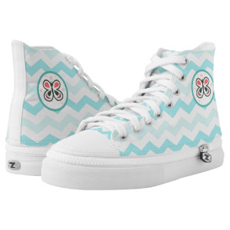 Modern Butterfly Personalized Chevron Kids Decor High Tops