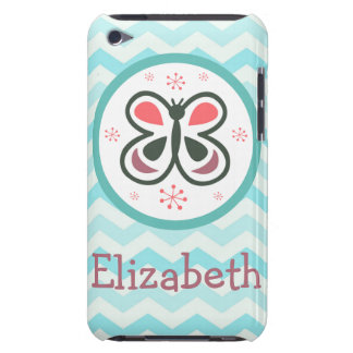 Modern Butterfly Personalized Chevron Kids Decor iPod Touch Cases