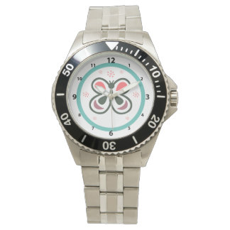 Modern Butterfly Personalized Chevron Kids Decor Watch