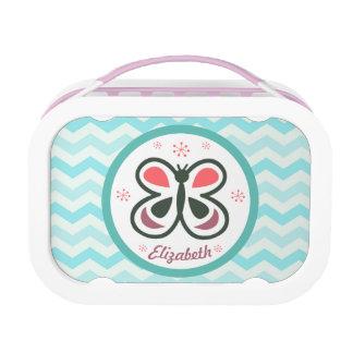 Modern Butterfly Personalized Chevron Kids Design Lunch Box