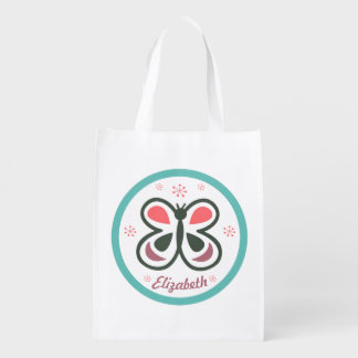 Modern Butterfly Personalized Chevron Kids Design Reusable Grocery Bag