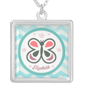 Modern Butterfly Personalized Chevron Kids Design Silver Plated Necklace