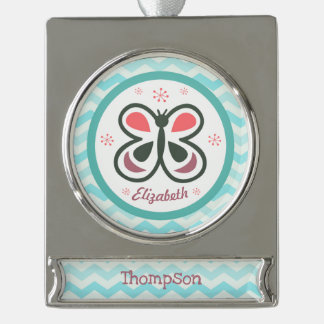 Modern Butterfly Personalized Chevron Kids Gift Silver Plated Banner Ornament
