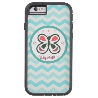 Modern Butterfly Personalized Chevron Kids Gift Tough Xtreme iPhone 6 Case