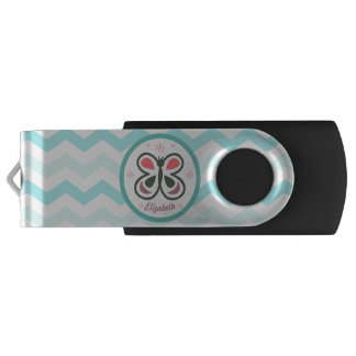 Modern Butterfly Personalized Chevron Kids Gift USB Flash Drive