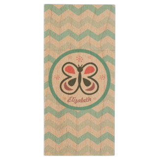 Modern Butterfly Personalized Chevron Kids Gift Wood USB Flash Drive